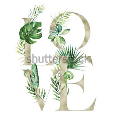 Adesivo Illustrazione floreale dell'acquerello esotico tropicale - AMI la bandiera di disposizione con le lettere di struttura dell'oro, per nozze stazionarie, i saluti, gli sfondi, la moda, fondo. Pa