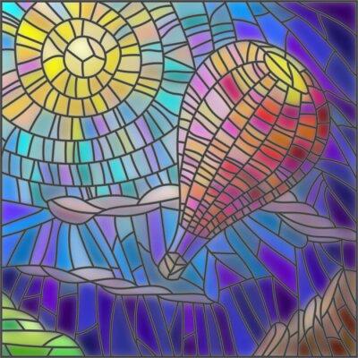 Adesivo Illustrazione in mongolfiera vetrate stile sullo sfondo del cielo e del sole
