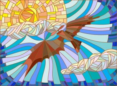 Adesivo Illustrazione in stile vetro colorato con aereo d'epoca nel cielo, nuvole e sole