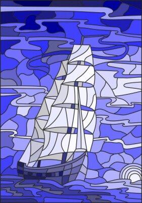 Adesivo Illustrazione in stile vetro colorato con la barca a vela contro il cielo, il mare e l'impostazione versione sun.Blue