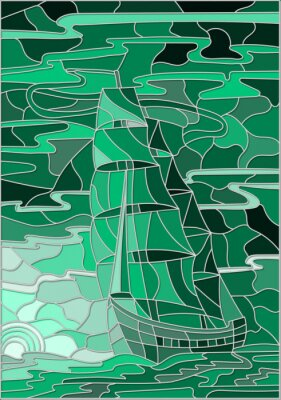 Adesivo Illustrazione in stile vetro colorato con la barca a vela contro il cielo, il mare e l'impostazione versione sun.Green