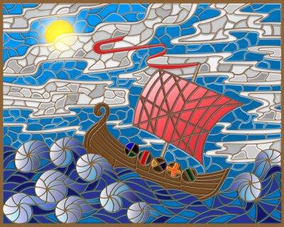 Adesivo Illustrazione in stile vetro colorato con la nave d'epoca contro il mare, cielo e del sole