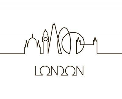 Adesivo illustrazione lineare astratta della città di Londra su sfondo bianco