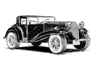 Adesivo Illustrazione Retro Classic Old vettore Car