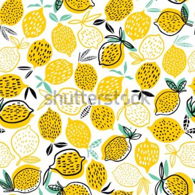 Adesivo Illustrazione senza cuciture di vettore del modello del limone. Design estivo