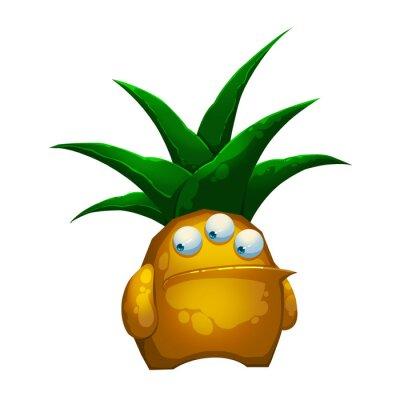 Adesivo Illustrazione: The Fantastic Foresta ananas mostro isolato su sfondo bianco. Realistico stile fumetto fantastico Personaggio / mostro / Creature Design.