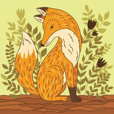 Adesivo Illustrazione vettoriale con Fox
