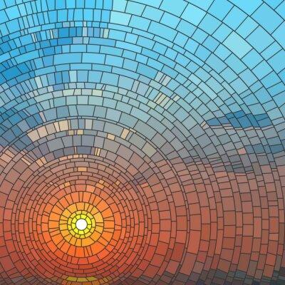 Adesivo Illustrazione vettoriale del tramonto nel mare.