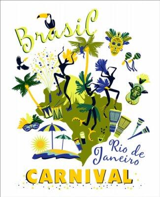 Adesivo Illustrazione vettoriale di Carnevale del Brasile.