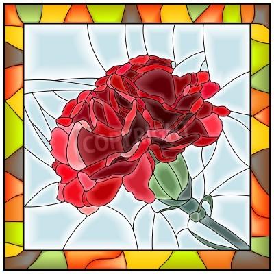 Adesivo Illustrazione vettoriale di fiore rosso garofano vetrata con telaio