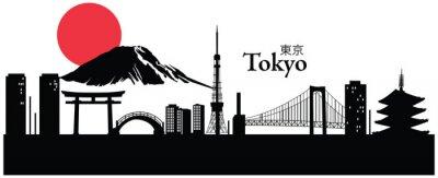 Adesivo Illustrazione vettoriale di paesaggio urbano di Tokyo, in Giappone