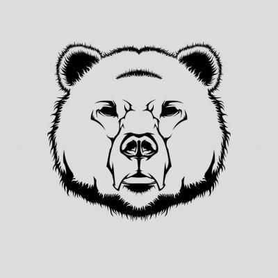 Adesivo illustrazione vettoriale di testa grizzly