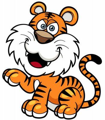 Adesivo Illustrazione vettoriale di Tiger cartone animato