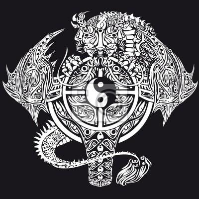Disegno Nero Su Bianco.Adesivo Illustrazione Vettoriale Disegno Del Tatuaggio Bianco Su Sfondo