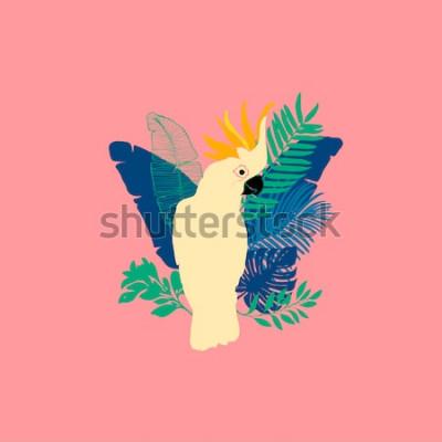 Adesivo Illustrazione vettoriale - Pappagallo cacatua, uccelli esotici, fiori tropicali, foglie di palma, uccello del paradiso