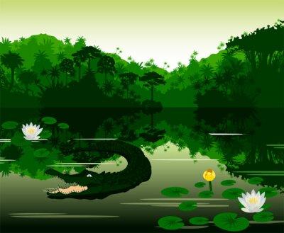 Adesivo Illustrazione vettoriale Tropical river con coccodrillo