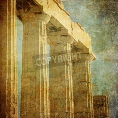 Adesivo Immagine d'epoca di colonne greche, Acropoli, Atene, Grecia