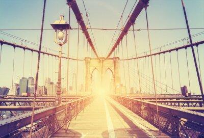 Adesivo Immagine d'epoca stilizzata di Ponte di Brooklyn, NY.