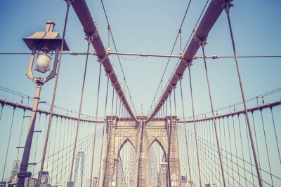 Adesivo Immagine d'epoca tonica del ponte di Brooklyn, New York.