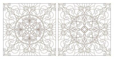 Adesivo Impostare illustrazioni di contorno di vetrate con astratti turbinii e fiori, immagine quadrata