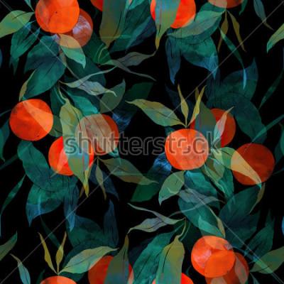 Adesivo imprime albero mandarino subtropicale con frutta e foglie. modello senza cuciture dipinto a mano. digitale e acquerello. sfondo per arredamento e design tessile. sfondo. errore di cornice