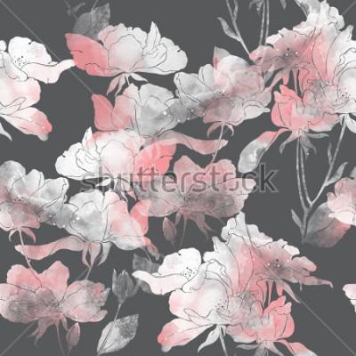 Adesivo imprime fiori e foglie di rosa selvatica. modello senza cuciture dipinto a mano. disegno digitale e struttura dell'acquerello. sfondo per arredamento e design tessile. carta da parati botanica. me