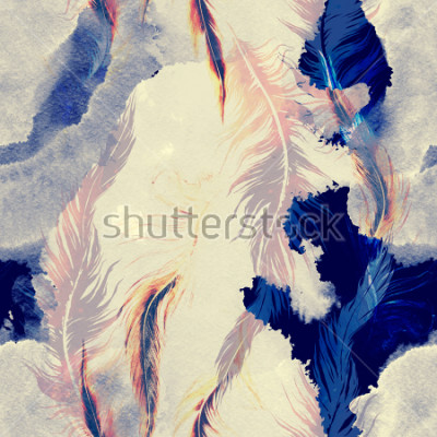 Adesivo imprints flying bird feathers mix seamless pattern. abstract watercolour and digital hand drawn picture. mixed media artwork for textiles, fabrics, souvenirs, packaging and greeting cards.