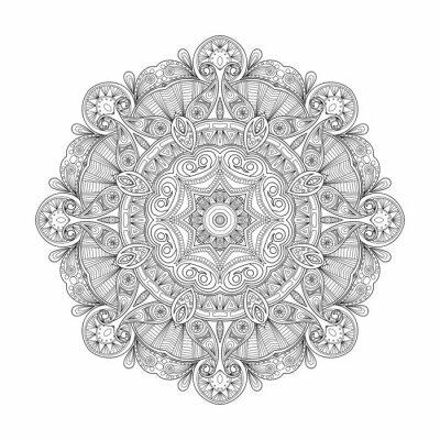 Adesivo In bianco e nero astratto circolare mandala modello etnico.