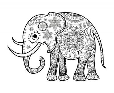 Adesivo In bianco e nero elefante decorato su bianco, elefante decorato Vettoriale da colorare, su sfondo bianco