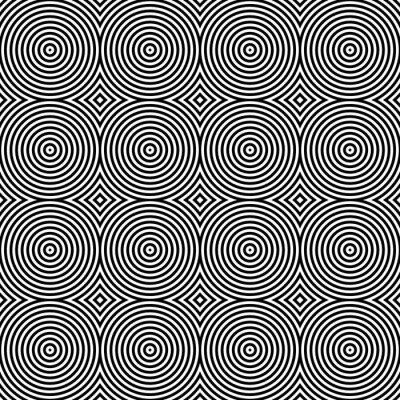 Adesivo In bianco e nero psichedelico circolare tessile Pattern.