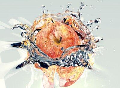 Adesivo in caduta mela e spruzzi in acqua