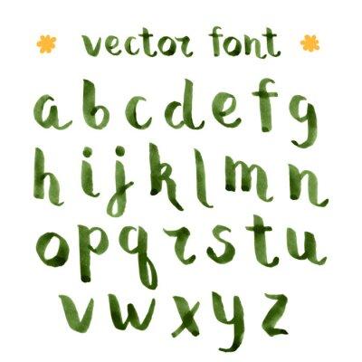 Adesivo Inchiostro a mano alfabeto verde.