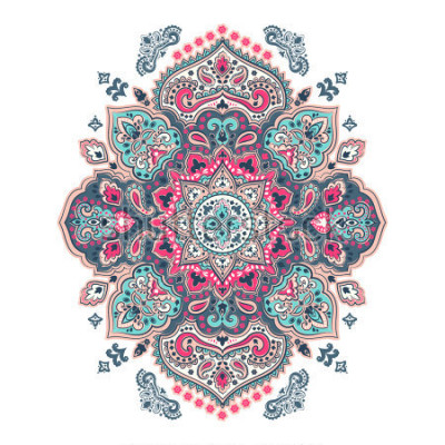 Adesivo Indian floral paisley medallion pattern. Ethnic Mandala ornament. Vector Henna tattoo style. Can be used for textile, greeting card, coloring book, phone case print.