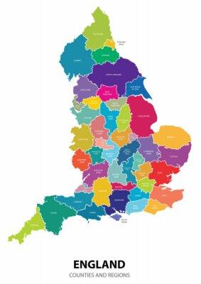 Adesivo Inghilterra Mappa con le Regioni