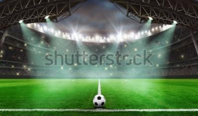 Adesivo inizia la partita di calcio - Pallone da calcio nello stadio