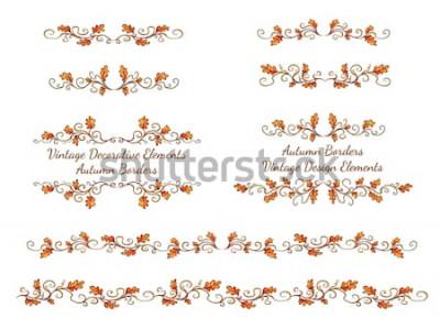 Adesivo Insieme dei bordi disegnati a mano con foglie di autunno