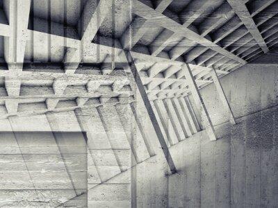Adesivo interno astratto con stanza vuota e concreto