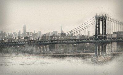 Adesivo Invecchiato panorama monocromatica di New York City