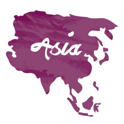 Adesivo Isolata la mappa di Asia su uno sfondo bianco, illustrazione vettoriale