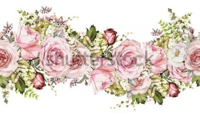 Adesivo isolato Confine senza soluzione di continuità con fiori rosa, foglie. motivo floreale acquerello vintage con foglia e rosa. Colore pastello Orlo floreale senza cuciture, fascia per carte, matrimonio o