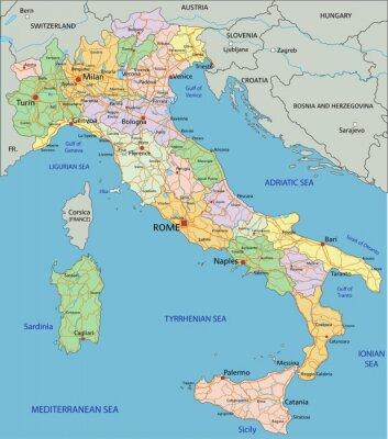 Adesivo Italia - altamente dettagliata mappa politica modificabile con strati separati.