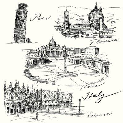 Adesivo Italia - collezione disegnata a mano