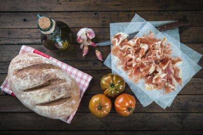Adesivo Jamón, pan, tomate, Aceite de oliva y Ajo para hacer El Tipico pan tumaca español