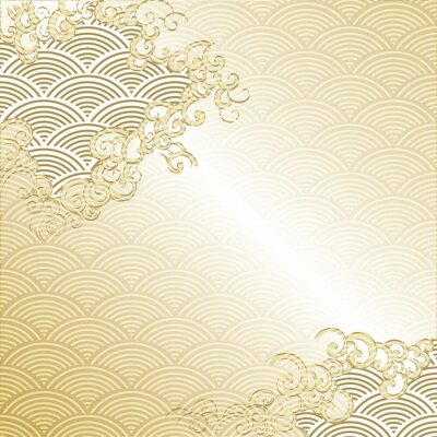 Adesivo Japanese Cloud background with wave pattern vector. Gold Japanese line template.