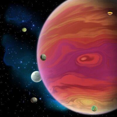 Adesivo Jupiter Planet - Giove è il pianeta più grande gigante del gas nel nostro sistema solare con 67 lune e ha una grande macchia rossa vortice di sotto dell'equatore.