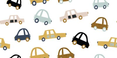 Adesivo Kids handdrawn seamless pattern with colorful cars