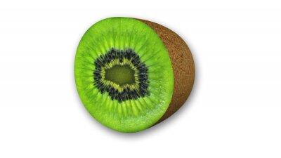 Adesivo Kiwi affettato, frutta tagliata a metà isolato su sfondo bianco