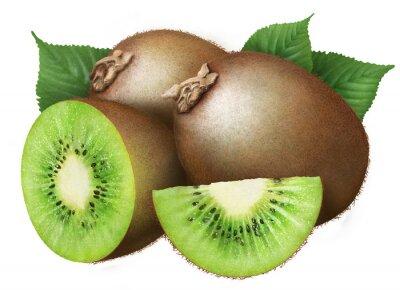 Adesivo kiwi con foglie su sfondo bianco, frutta