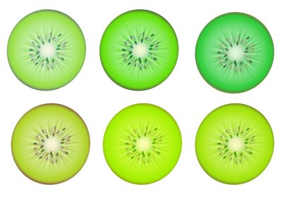 Adesivo Kiwi fette in più tonalità di colore verde