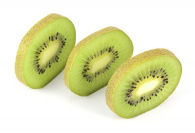 Adesivo Kiwi frutta a fette segmenti isolati su sfondo bianco
